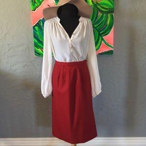 💐PENDLETON Vintage Fall Wool Pencil Skirt Red